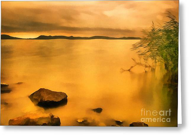 Water Filter Paintings Greeting Cards - Lake balaton sunset paint Greeting Card by Odon Czintos