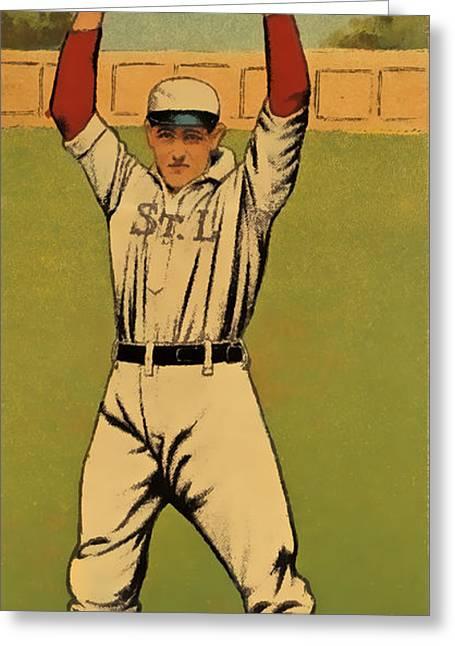 Spitball Greeting Cards - Lake Baseball Card Greeting Card by David Letts