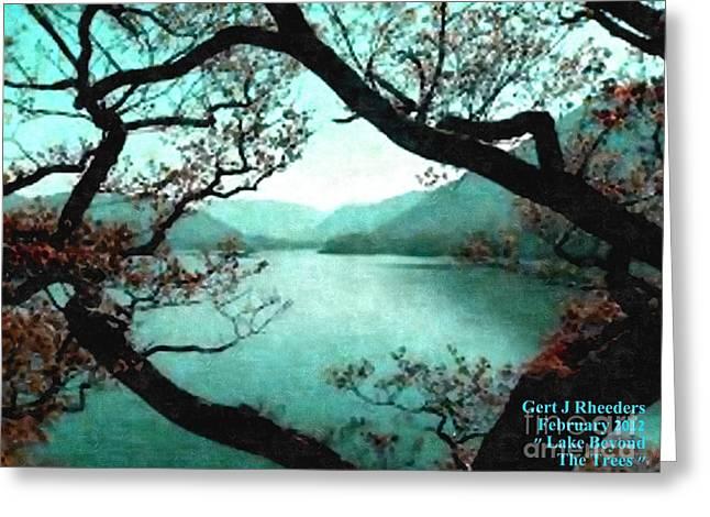 Cellphone Greeting Cards - Lake Beyond the Trees Greeting Card by Gert J Rheeders