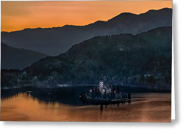 Sun Peaks Resort Greeting Cards - Lake Bled and church Marijina Uznesenja on the island  Greeting Card by Juan Carlos Ferro Duque
