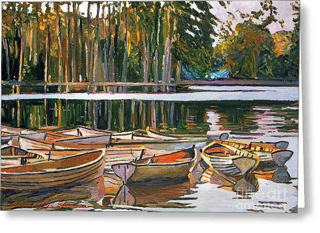 Evening Lights Paintings Greeting Cards - Lake Boats Paris Greeting Card by David Lloyd Glover