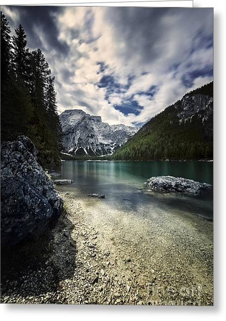Recently Sold -  - Mountain Valley Greeting Cards - Lake Braies And Dolomite Alps Greeting Card by Evgeny Kuklev