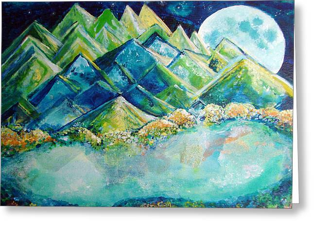 Dream Scape Greeting Cards - Lake by the Moon Light Greeting Card by Ashleigh Dyan Bayer