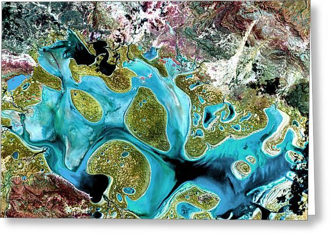 Ephemeral Greeting Cards - Lake Carnegie Greeting Card by USGS Landsat