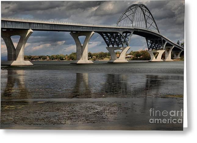 Lake Champlain Greeting Cards - Lake Champlain Bridge Greeting Card by Adam Jewell