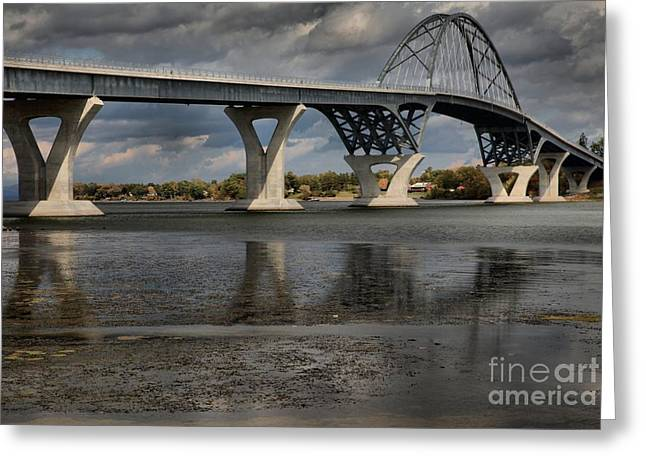 Lake Champlain Greeting Cards - Lake Champlain Bridge Reflections Greeting Card by Adam Jewell