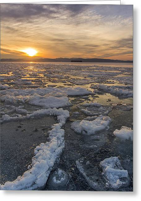 New England Snow Scene Greeting Cards - Lake Champlain ice formations at sunset Burlington Vermont Greeting Card by Andy Gimino