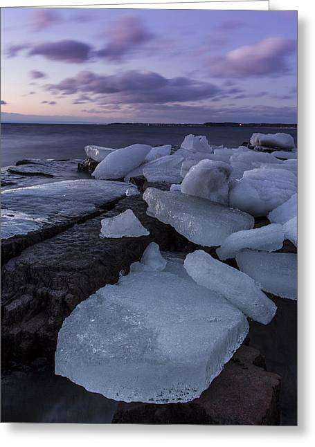 Vermont Photographs Greeting Cards - Lake Champlain Vermont ice Wave sunset Greeting Card by Andy Gimino