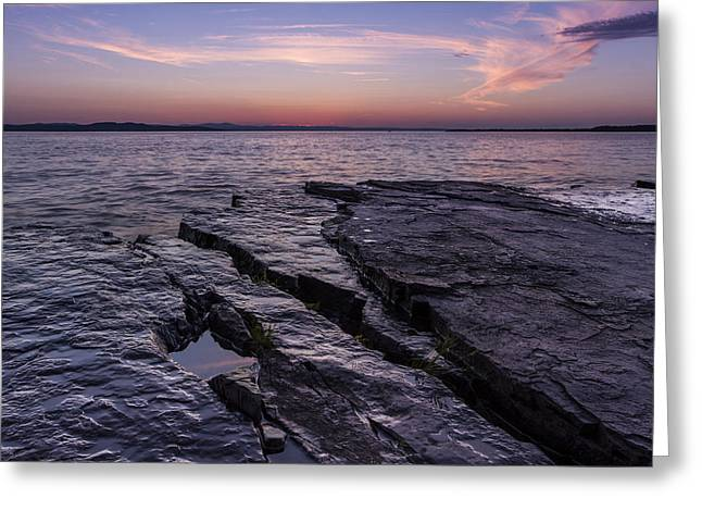 Champlain Greeting Cards - Lake Champlain Vermont New York sunset clouds Greeting Card by Andy Gimino