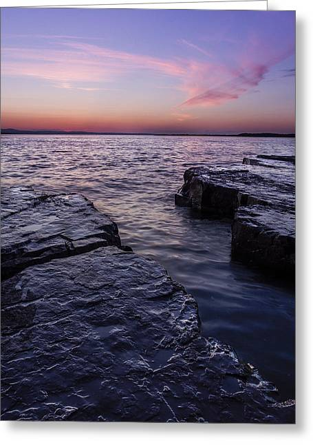 Lake Champlain Vermont Shoreline Sunset And Clouds Greeting Card by Andy Gimino