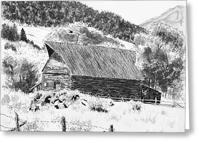 Old Barn Drawing Greeting Cards - Lake City Barn Greeting Card by Judy Sprague