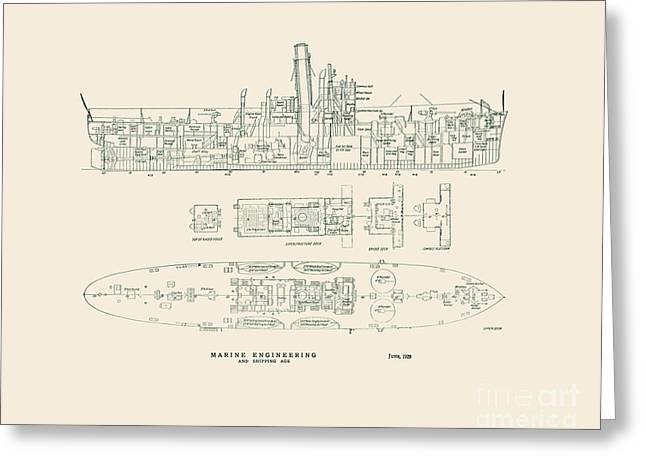 Uscg Drawings Greeting Cards - Lake Class Cutter 1929 Greeting Card by Jerry McElroy - Public Domain Image