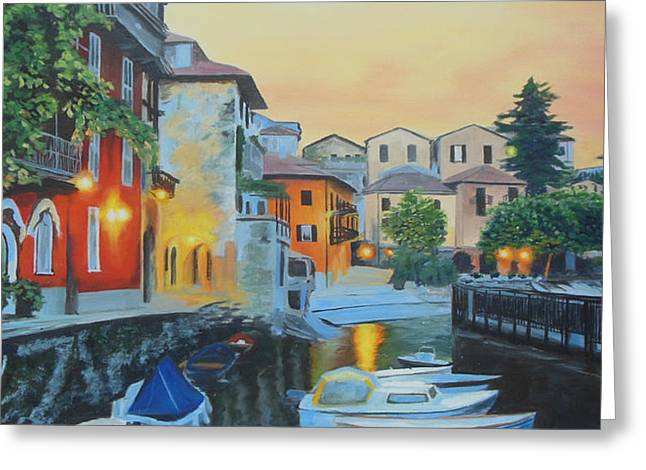 Italian Sunset Greeting Cards - Lake Como at Sunset Greeting Card by Sue Birkenshaw