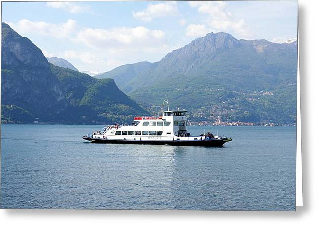 North Italian Town Greeting Cards - Lake Como Ferry Greeting Card by Valentino Visentini