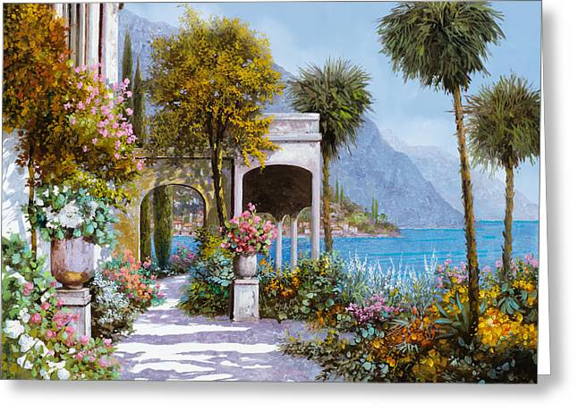 Landscape. Scenic Paintings Greeting Cards - Lake Como-la passeggiata al lago Greeting Card by Guido Borelli