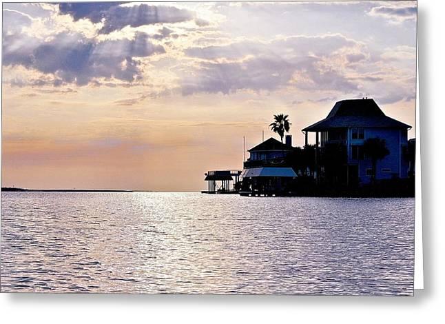 Galveston Greeting Cards - Lake Como on the Gulf Coast sunset Greeting Card by Kristina Deane