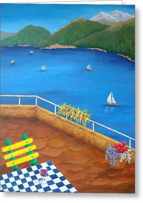 Italian Wine Greeting Cards - Lake Como Greeting Card by Pamela Allegretto