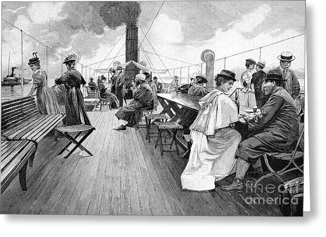 European Artwork Greeting Cards - Lake Constance Steamer Passengers, 1890s Greeting Card by Bildagentur-online