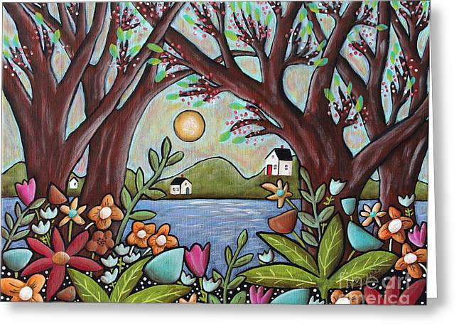 Primitives Greeting Cards - Lake Cottages Greeting Card by Karla Gerard