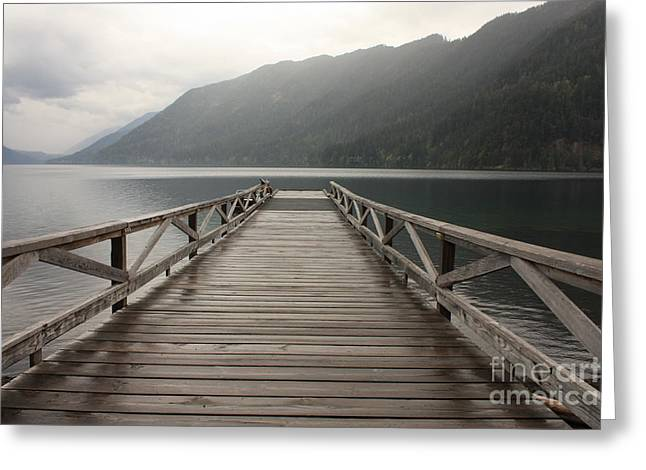 Lake Crescent Greeting Cards - Lake Crescent Dock Greeting Card by Carol Groenen