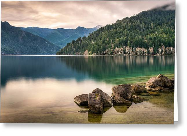 Angeles Forest Greeting Cards - Lake Crescent Zen Greeting Card by Dan Mihai