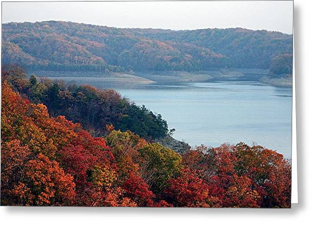 Hills Tapestries - Textiles Greeting Cards - Lake Cumberland in Autumn Greeting Card by Thia Stover