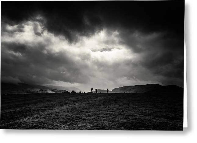 Stone Circle Greeting Cards - Lake district mono photo shoot Greeting Card by Chris Fletcher