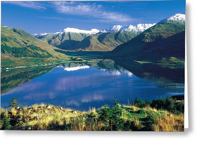 Snow Capped Greeting Cards - Lake Duich Highlands Scotland Greeting Card by Panoramic Images