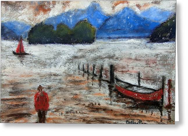 Carpenter Lake Greeting Cards - Lake Edge Greeting Card by Callan Percy