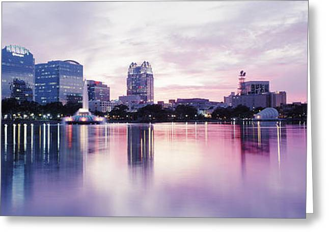 Color Photography Greeting Cards - Lake Eola In Orlando, Orlando, Florida Greeting Card by Panoramic Images