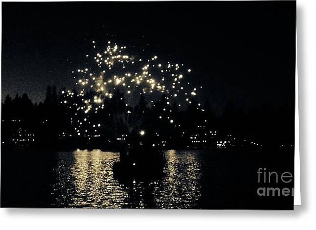 Lake Fireworks Greeting Card by Susan Garren