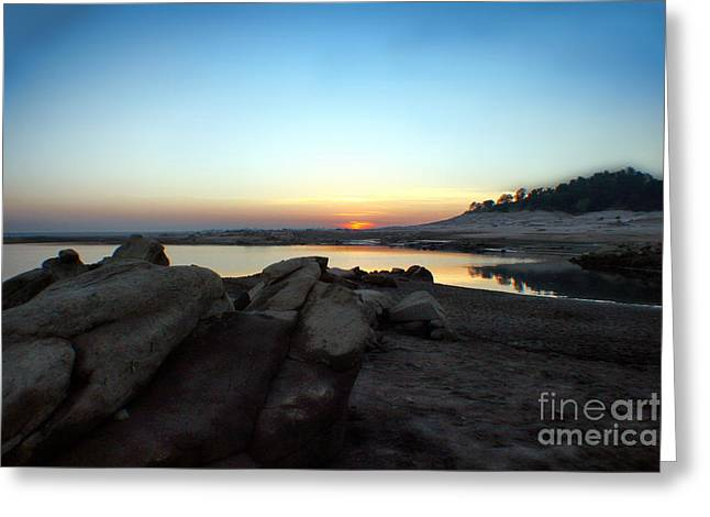 Polly Lake Greeting Cards - Lake Folsom California Rocky Sunset Greeting Card by Polly Peacock