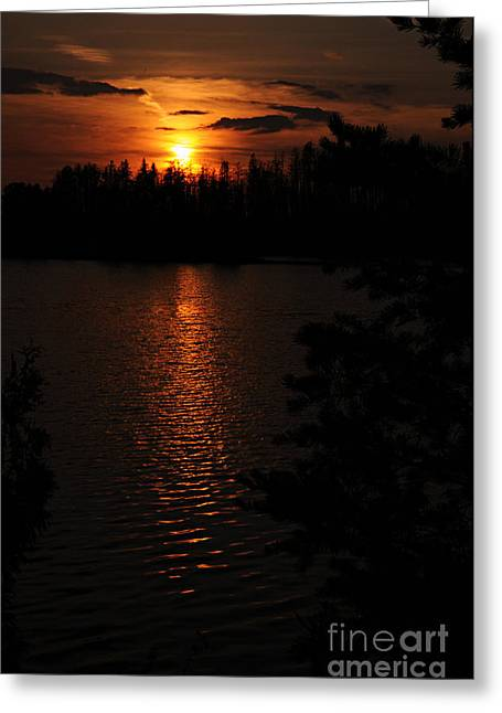 Boundary Waters Greeting Cards - Lake Four Sunset Greeting Card by Larry Ricker