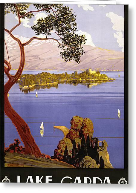 Mediterranean Landscape Digital Art Greeting Cards - Lake Garda Greeting Card by Nomad Art And  Design