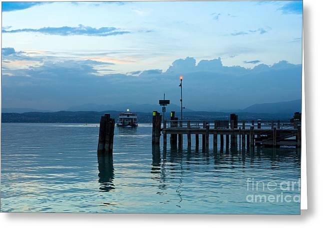 Lakescape Greeting Cards - Lake Garda Pier and the Last Ferry for the day Greeting Card by Kiril Stanchev