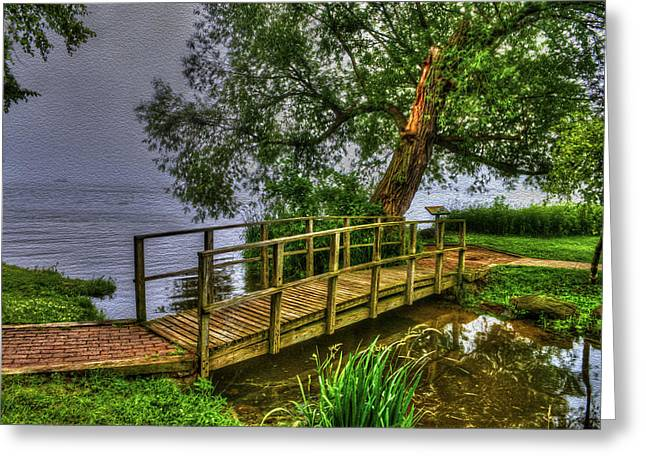 Awesome Greeting Cards - Foot Bridge in Deep Fog - Williams Bay Wisconsin Greeting Card by Ben Thompson