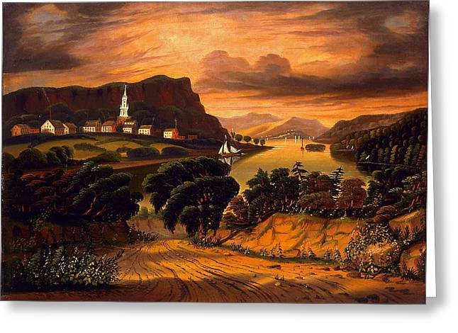 The Lake George Greeting Cards - Lake George and the Village of Caldwell Greeting Card by Thomas Chambers