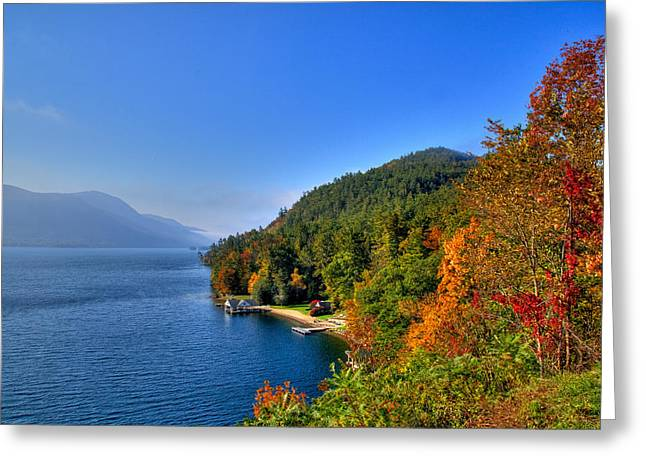 Fir Trees Greeting Cards - Lake George in the Fall Greeting Card by David Patterson