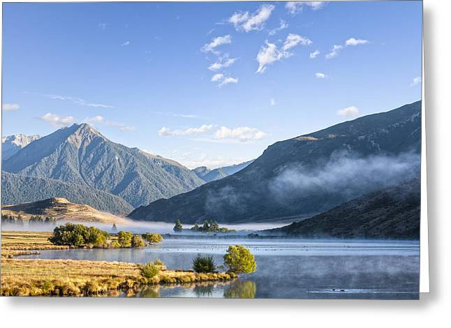 Summer Landscape Greeting Cards - Lake Grasmere and Southern Alps Canterbury New Zealand Greeting Card by Colin and Linda McKie