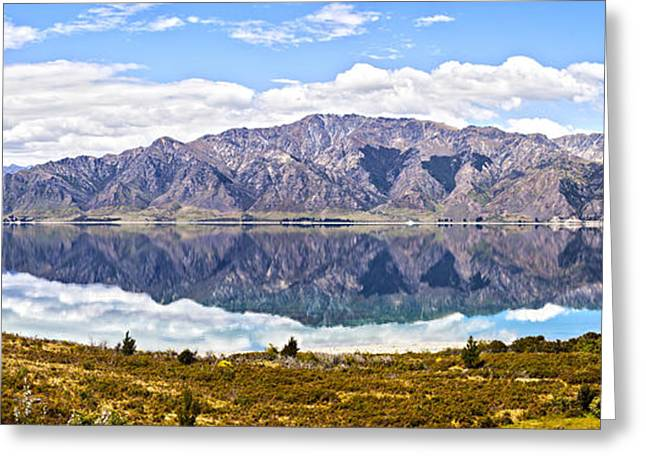 Horizontal Panorama Greeting Cards - Lake Hawea Panorama Otago New Zealand Greeting Card by Colin and Linda McKie