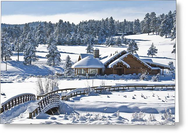 Lake House In Snow Greeting Card by Ron White