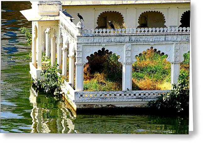 The Houses Greeting Cards - Lake House of Grass Udaipur Rajasthan India Greeting Card by Sue Jacobi