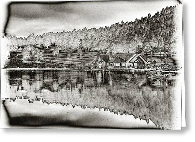 Lake House Reflection Greeting Card by Ron White
