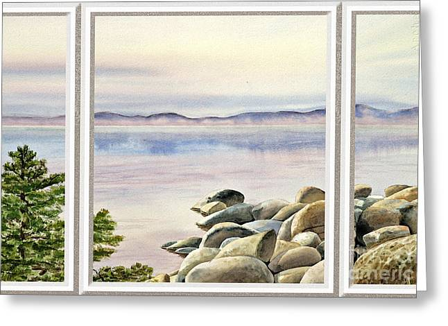 Blue Sailboats Greeting Cards - Lake House Window View Greeting Card by Irina Sztukowski