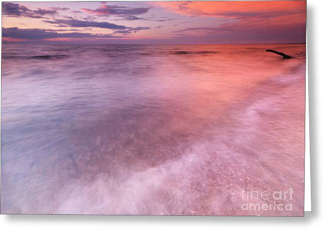 Beach Scenery Greeting Cards - Lake Huron beautiful red sunset sky Greeting Card by Oleksiy Maksymenko