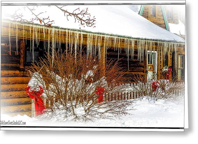 Overhanging Snow Greeting Cards - Lake Huron Cabins in Winter Greeting Card by LeeAnn McLaneGoetz McLaneGoetzStudioLLCcom