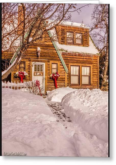 Overhanging Snow Greeting Cards - Lake Huron Cabins Shoveled walk Greeting Card by LeeAnn McLaneGoetz McLaneGoetzStudioLLCcom