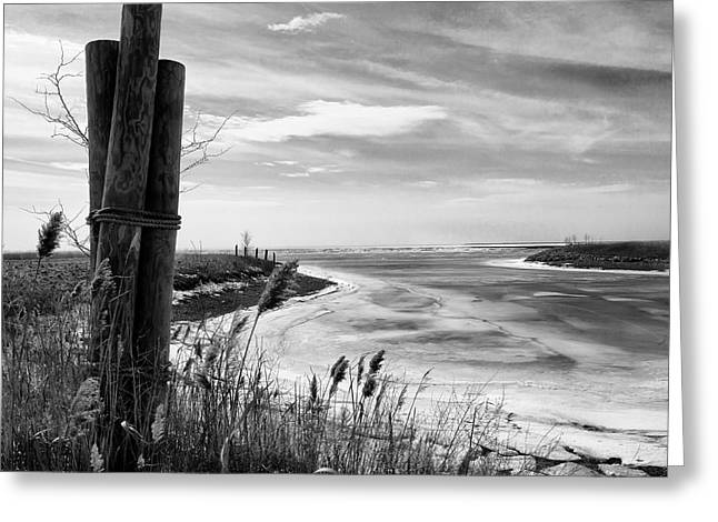 Lake Ice Bw Greeting Card by Peter Chilelli