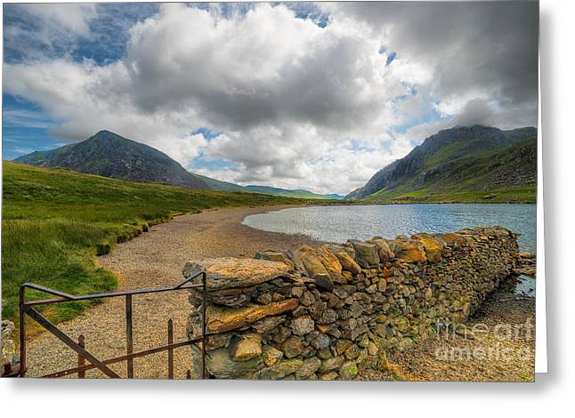 Hinged Greeting Cards - Lake Idwal Gate Greeting Card by Adrian Evans