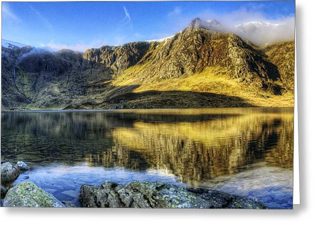 Water Scape Greeting Cards - Lake Idwal Panorama Greeting Card by Ian Mitchell